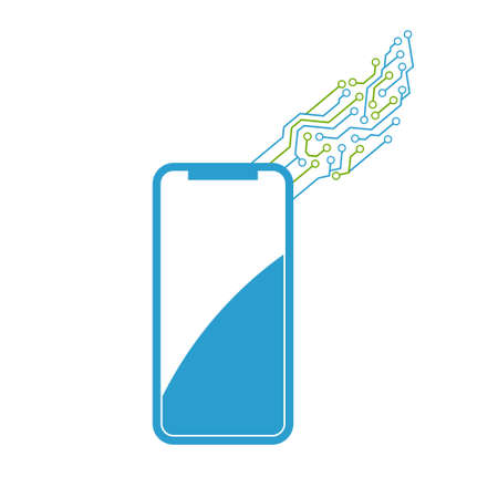 A mobile phone new technology. A vector icon template design illustration on white background. Vettoriali