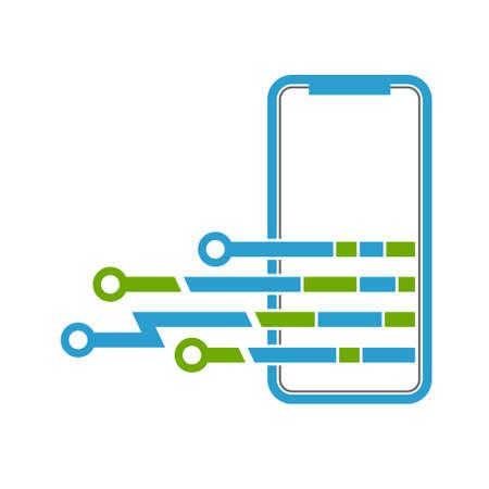 Un'illustrazione caricantesi di vettore dell'icona di ricarica dello smartphone su fondo bianco.