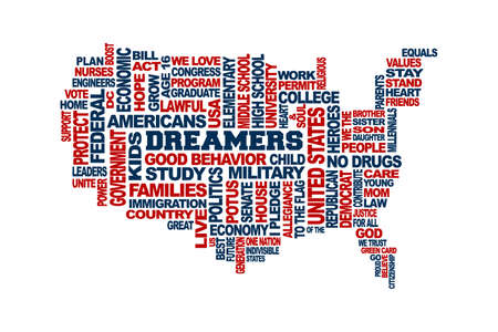Dreamers USA Map Support Concept. Word Cloud Vector in White Background Vettoriali