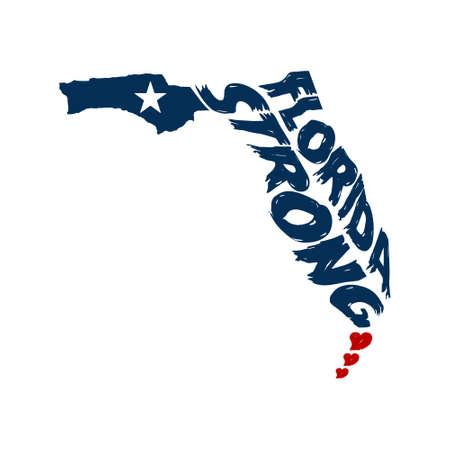 Florida Map Logo Grunge Design Illustration