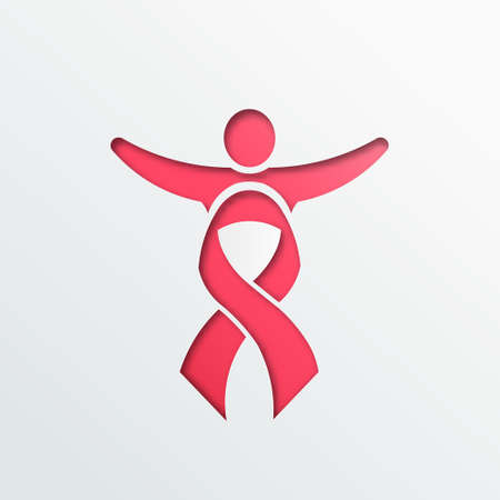 Breast cancer awareness people pink ribbon paper cut Effect on white background.