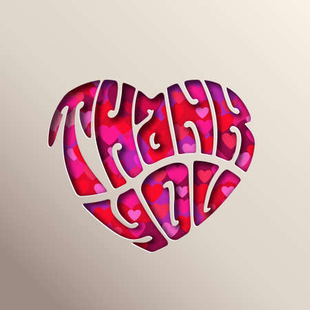 Thank you heart, paper cut vector illustration on white background.