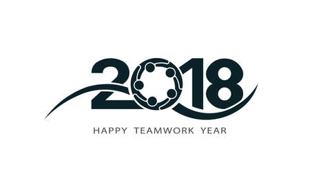 Happy teamwork New Year 2018. A vector icon illustration on white Background.