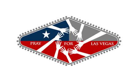 Preghi per l'illustrazione di vettore di Las Vegas Nevada su fondo bianco.