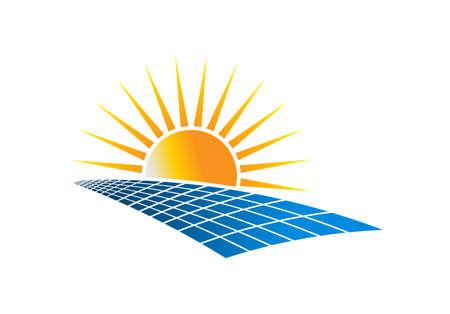Énergie solaire énergie Logo Vector Illustration sur fond blanc