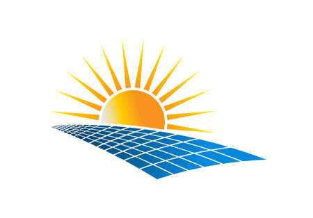 Solar Power Energy Logo Vector Illustration in white background Stock Illustratie