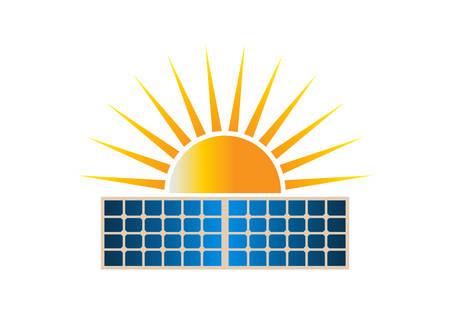 Illustrazione di vettore di clipart di logo del doppio pannello solare di Sun. Vettoriali