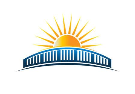 Sun Over Bridge Horizon Vector Illustration Illustration
