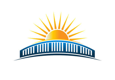 Sun Over Bridge Horizon Vector Illustration Vettoriali