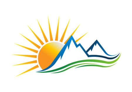 Sun Mountains Logo Vector illustration Vettoriali