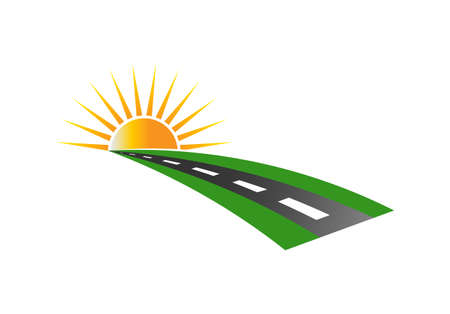 Sunset Road Pavement Logo Vector