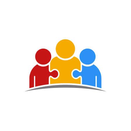 Three People Puzzle Teamwork Logo Vector Illustration