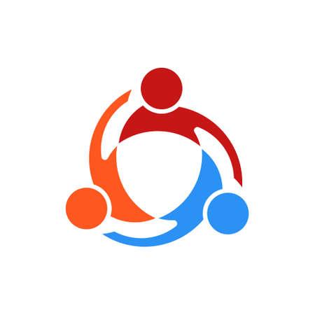 Three People Swirl Vector Logo Illustration in White Background