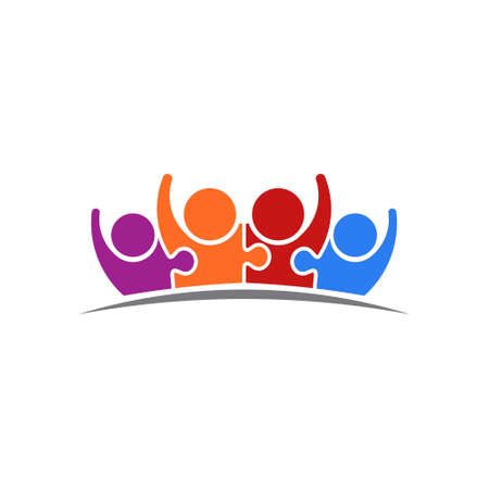 People Puzzle Connected Team of Four. Vector Logo Illustration. Concept of Union