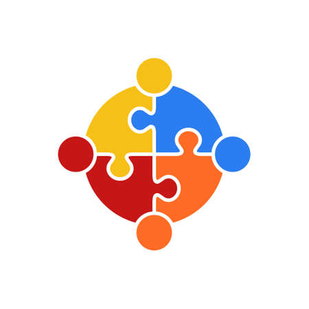 Circle Puzzle of Teamwork Logo Vector Illustration Concept of Union
