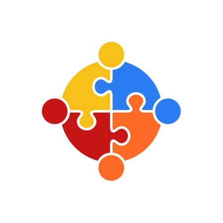 Cirkelpuzzel van Teamwork Logo Vector Illustration Concept Union Stockfoto - 92817936