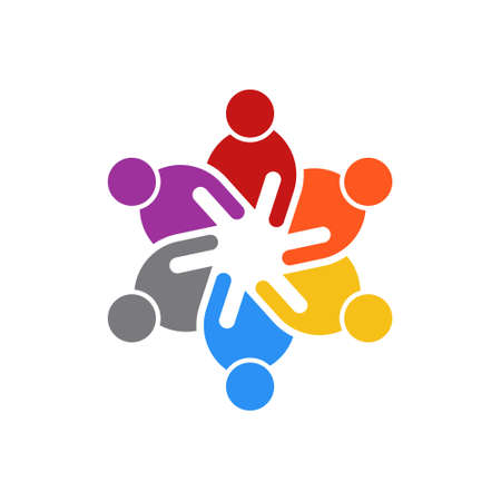 Business People Meeting of Six People. Logo Vector illustration