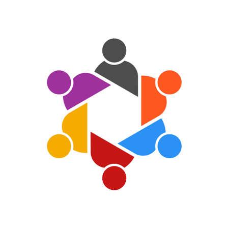 Vettore di logo del gruppo di riunione della Tabella della gente. Concetto di consiglio