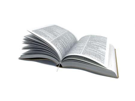 Bibbia del libro aperto in foto bianca del fondo Archivio Fotografico