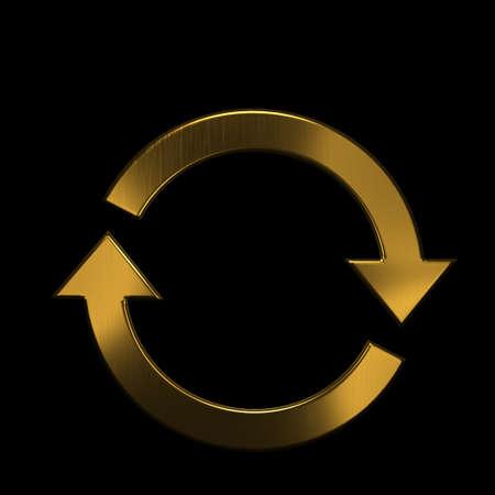 Recycling Circular Arrows. Golden Metallic Color. 3D Render Illustration Archivio Fotografico