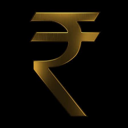 Gold Indian Rupee Symbol. 3D Rendering Illustration