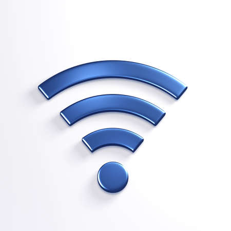 WiFi Wireless Symbol. 3D Blue Render Illustration