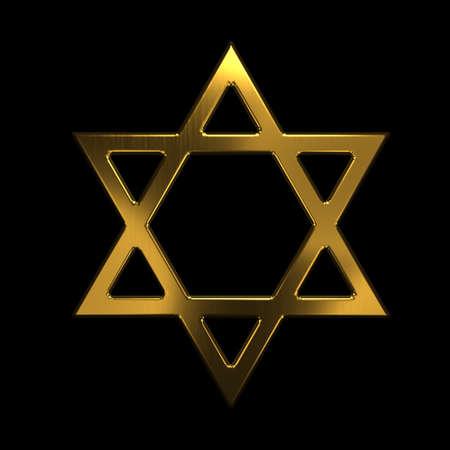 David Star Symbol. 3d Gold Render Illustration