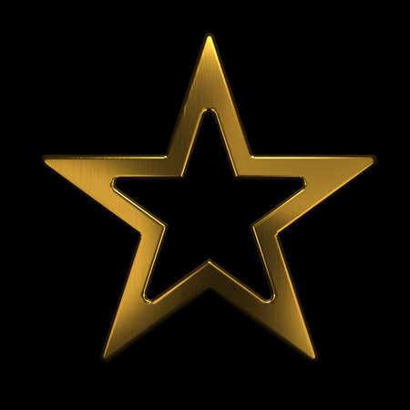 Gold Star Icon. 3D Gold Render Illustration Archivio Fotografico