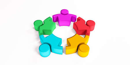 Friendship Togetherness Community Copy Space . 3D Render Illustration.Concept of Leaders Meeting