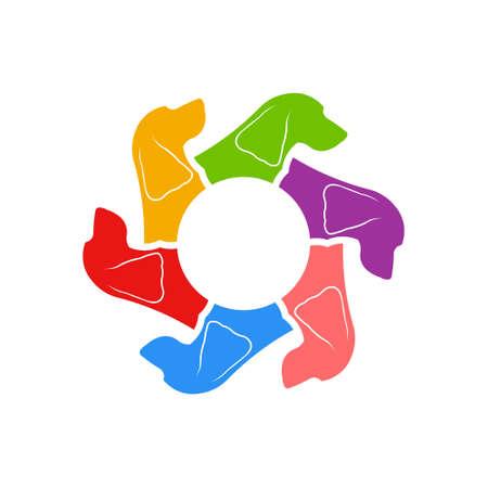 Cocker Spaniel Circle of Dogs. Vector Illustration