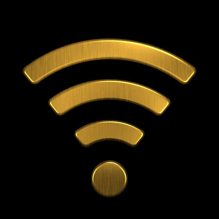 Golden WiFi  . 3D Rendering Illustration