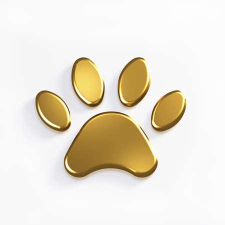 Golden Paw Pet. 3D Render Illustration