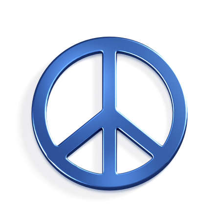 Peace Symbol.3D Blue render Illustration Archivio Fotografico