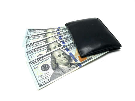 One Hundred Dollar Pile of bills in Wallet. Photo image Archivio Fotografico