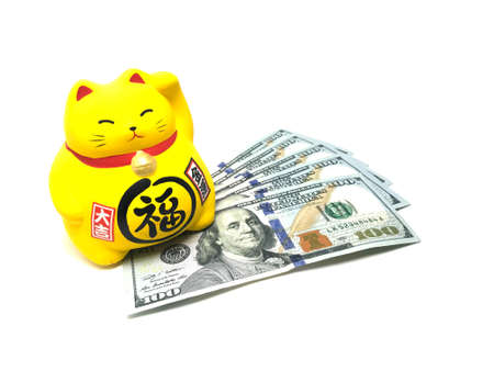 Maneki Neko, Beckoning Lucky Yellow Cat and Dollar Bills