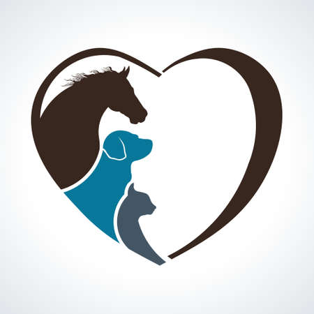 Veterinarian Heart Animal Love. Horse,Dog and Cat Together Stok Fotoğraf - 93895074