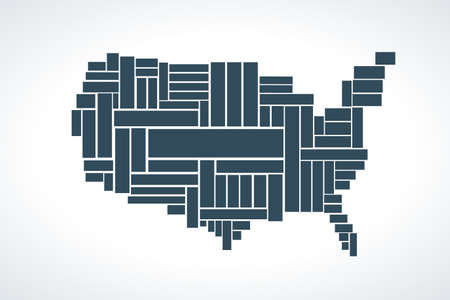 United States Map made by rectangles. Ready to built with words inside, copy space for design
