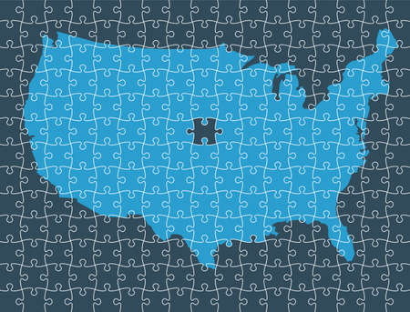 United States Map made by pieces of Puzzle. Concept of Parts of a Whole