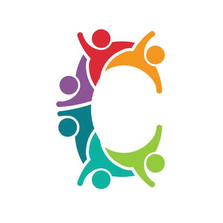 Letter C with kids figures children care logo concept design. Illustration