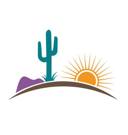 Arizona Desert with Sun Mountain and Cactus 矢量图像