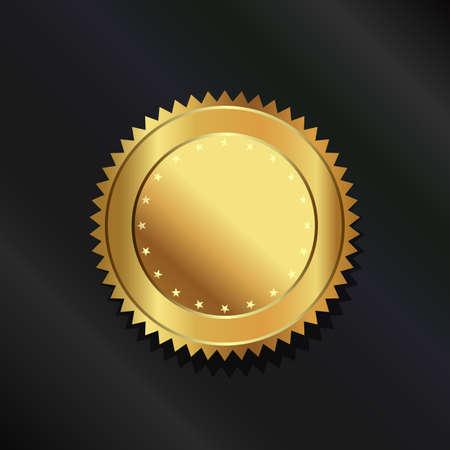 Gold seal logo vector illustration.