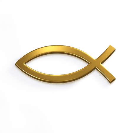 Gold Christ Fish . 3D Render Illustration Standard-Bild