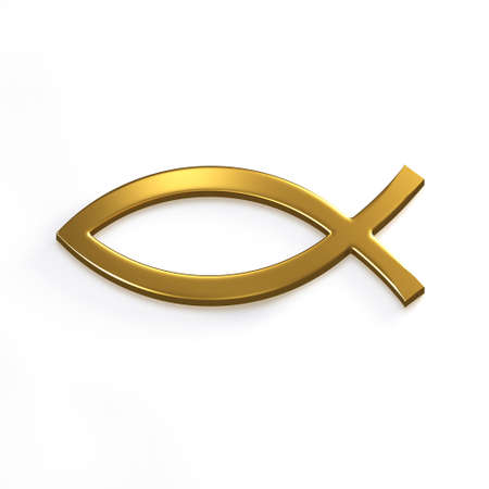 Gold Christ Fish . 3D Render Illustration Stock Photo