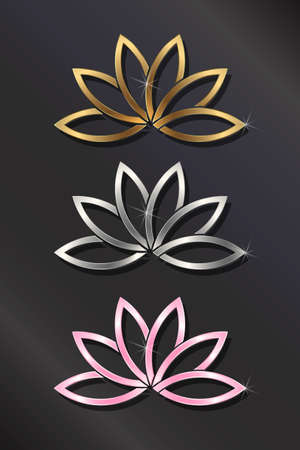 Golden, silver, Pink Lotus Plant Image Concept of Purity of the Body, Speech, and Mind Illustration