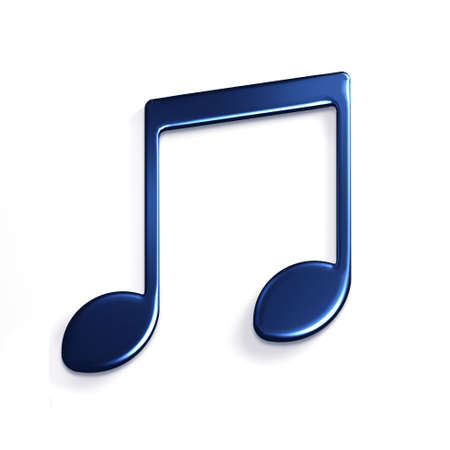 Music Note or Eight Note Icon. 3D Rendering Illustration