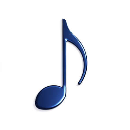 Quaver or eighth music / musical note flat icon for Icon. 3D Rendering Illustration