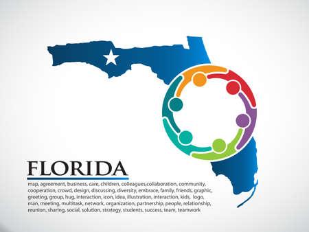 Florida Organization Community People. Vector Illustration  イラスト・ベクター素材