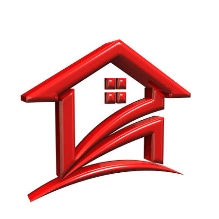 Red House. 3D Rendering Illustration Stock Photo