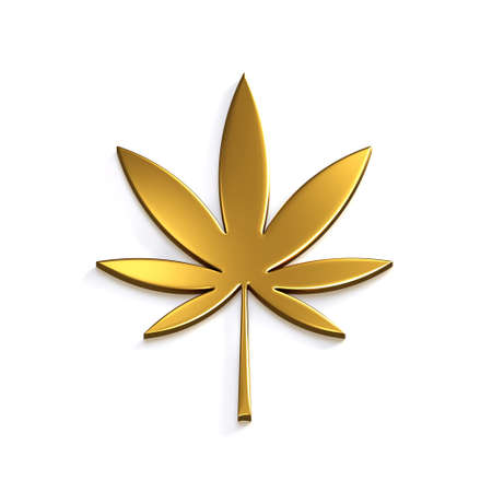 Gold Cannabis Leaf Isolated on White Background. 3D Render Illustration Imagens