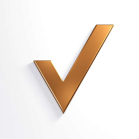 Bronze Check Mark. 3D Render Illustration